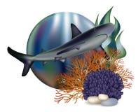 Underwater world banner with shark Stock Photo