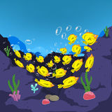 Underwater world, cartoon. Dance of fish in the sea. Ocean Underwater World for design Stock Photography