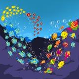 Underwater world, cartoon 2 Stock Photos