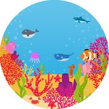 Underwater world cartoon Royalty Free Stock Photos