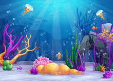 Underwater world cartoon illustration Stock Images