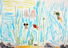 Underwater world. Child drew underwater world - the algae, frogs, fish, jellyfish Royalty Free Stock Photography