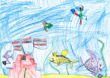 Underwater world. child's drawing. Stock Image