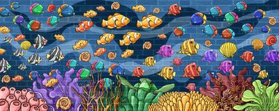 Underwater world colorful fishes and Underwater atmosphere Wall vector illustration