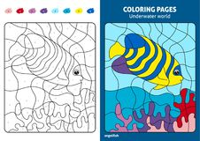 Underwater world coloring page for kids, angelfish. Printable design coloring book. Coloring puzzle with numbers of color. Black and white draw with color Royalty Free Stock Images