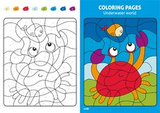 Underwater world coloring page for kids, fish and crab. Printable design coloring book. Coloring puzzle with numbers of color. Black and white draw with color Royalty Free Stock Image