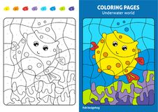 Underwater world coloring page for kids, fish Printable design coloring book. Coloring puzzle with numbers of color. Black and white draw with color example Royalty Free Stock Image