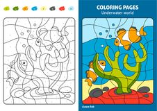 Underwater world coloring page for kids, reef fish. Printable design coloring book. Coloring puzzle with numbers of color. Black and white draw with color Stock Images