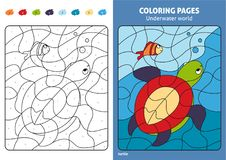 Underwater world coloring page for kids, turtle and fish. Printable design coloring book. Coloring puzzle with numbers of color. Black and white draw with Stock Image