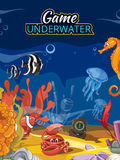Underwater world computer game. Vector screen in Royalty Free Stock Photos