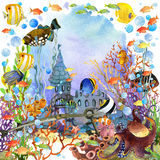 Underwater world. coral reef fish watercolor illustration. Exotic Fish, coral reef, algae, unusual sea fauna, sea shells, anemones and decoration marine theme Stock Images