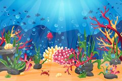 Underwater world with a coral reef, and the silhouette of fish on a blue sea background.
