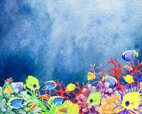 Underwater world and coral reefs hand painted watercolor backgr. Beautiful hand painted watercolor mockup clipart template background of underwater world and Stock Photo