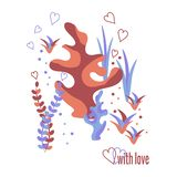 Underwater world, corals, algae and heart-shaped bubbles. With love, romantic quote. vector illustration