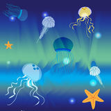 Underwater world. Depths of the sea, starfish, various jellyfish. Vector illustration Royalty Free Stock Photo