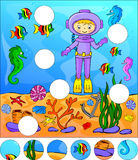 Underwater world with diver. Complete the puzzle and find the mi Royalty Free Stock Photos