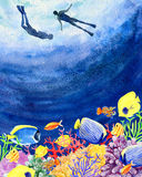 Underwater world divers coral reefs hand painted watercolor back. Beautiful hand painted watercolor mockup clipart template background of underwater world Royalty Free Stock Photos