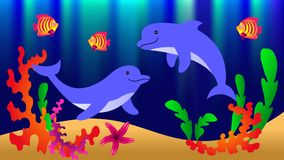Underwater world with dolphins, fish, corals, starfish and algae. Vector illustration Stock Photo