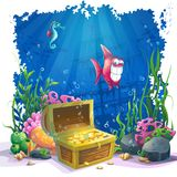 Underwater world with fish and gold chest Stock Image