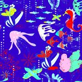 Underwater world with fish, jellyfish, sea horses, sea stars, corals, waterways. Underwater world with fish, jellyfish, sea horses, starfishes, corals, waterways Royalty Free Stock Photography