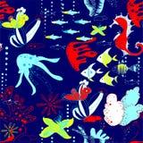 Underwater world with fish, jellyfish, sea horses, sea stars, corals, waterways. Underwater world with fish, jellyfish, sea horses, starfishes, corals, waterways Stock Image