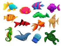 Underwater world of fish and marine inhabitants