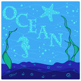 The underwater world of fish, plants, inscription of the bubbles. EPS10 Royalty Free Stock Images