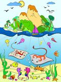 Underwater world with fish, plants, island and caravel color for children cartoon vector illustration.  Royalty Free Stock Image