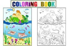 Underwater world with fish, plants, island and caravel coloring for children cartoon vector illustration. Black and white, color Royalty Free Stock Photography