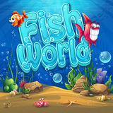 Underwater world with fish Vector illustration background Royalty Free Stock Photography