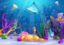 Underwater world with a funny fish and fish ramp Stock Photography