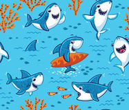 Underwater world with funny sharks background. Vector seamless underwater pattern with cute cartoon sharks Royalty Free Stock Image