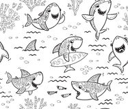 Underwater world with funny sharks. Vector outline background. Seamless pattern with black and white hand drawn shark characters. Coloring book page. Vector Stock Photography