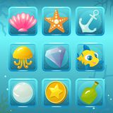 Underwater World Game Icons with Elements. Vector game icons with seachell, starfish, anchor, jellyfish, gem, fish, pearl, coin and bottle for underwater match Royalty Free Stock Photos