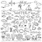 Underwater world hand drawn doodle set Royalty Free Stock Image