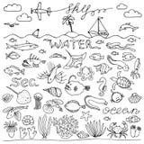 Underwater world hand drawn doodle set Royalty Free Stock Image