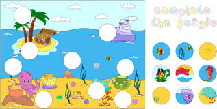 Underwater world and marine life: complete the puzzle and find t Royalty Free Stock Image