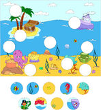 Underwater world and marine life: complete the puzzle and find t. He missing parts of the picture. Vector illustration. Educational game for kids Stock Photography