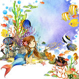 Underwater world. Mermaid and fish coral reef. watercolor illustration for children Royalty Free Stock Photo