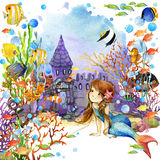 Underwater world. Mermaid and fish coral reef. watercolor illustration for children Royalty Free Stock Photography
