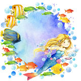 Underwater world. Mermaid and fish coral reef. watercolor illustration for children. Mermaid and Exotic Fish, coral reef, algae, unusual sea fauna, sea shells Stock Photos