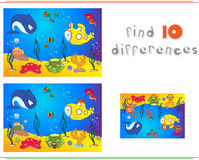 Underwater world, ocean floor with octopus, submarine, whale, fish, corals and sea shells. Educational game for kids: find ten di. Fferences. Vector illustration vector illustration