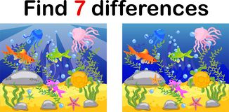 Underwater world, ocean floor with octopus, submarine, whale, fish, corals and sea shells. Educational game for kids: find ten stock illustration