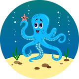 The underwater world of the octopus and fish stock illustration