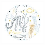 Underwater world. Octopus, jellyfish and fish. Underwater world. Octopus, jellyfish and fish in round frame on white background Royalty Free Stock Photo