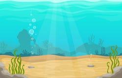 Underwater world in sea vector cartoon landscape.  stock illustration