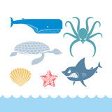 Underwater World Set flat icons. Animals Ocean. Shark and octopu Stock Image