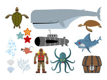 Underwater world set. Keith and submarine, shark and terrible Oc. Topus. Sea turtle and pirates treasure chest. Starfish, scallop and corals. Old diver diving Royalty Free Stock Photos