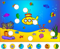 Underwater world and submarine: complete the puzzle. And find the missing parts of the picture. Vector illustration. Educational game for kids Royalty Free Stock Photo