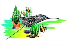 The underwater world of the tropics. Vector vector illustration